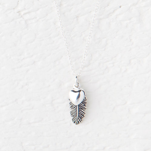 La Plume Small Oxidized Silver Feather Necklace
