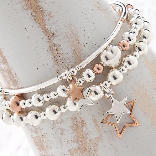 Seconds - Aurora Rose Gold Star Bracelet Set