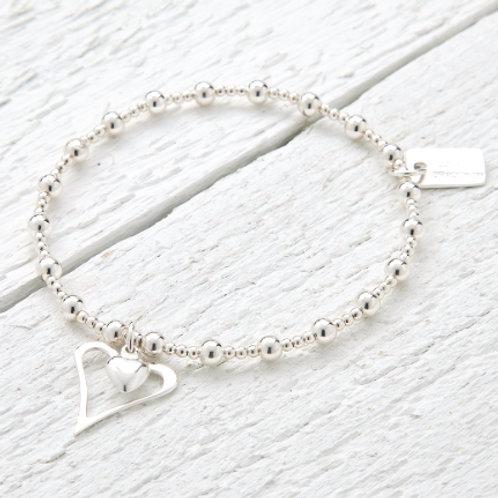 Amelia Silver Heart Bracelet