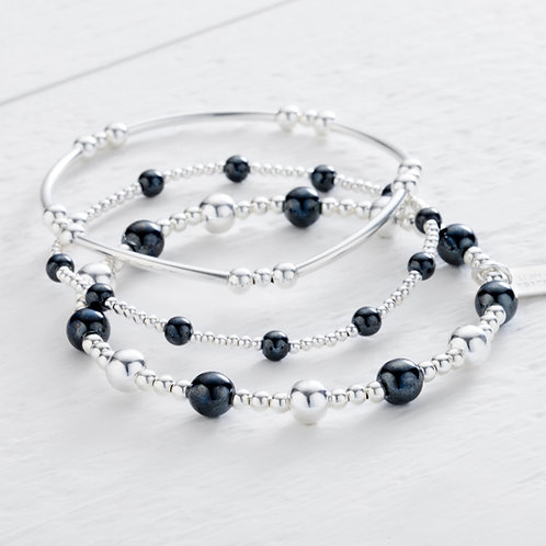Imogen Hematite Bracelet Stacking Set