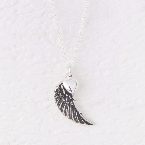 Parisa Oxidized Silver Angel Wing Necklace
