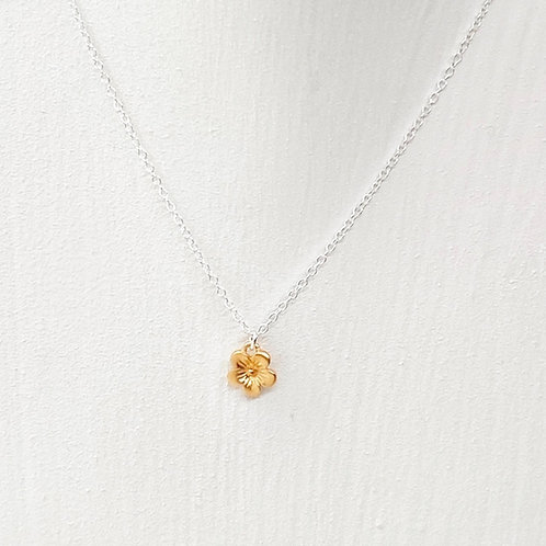 Cerise Small Gold Blossom Flower Necklace