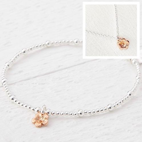 Cerise Small Rose Gold Blossom Flower Bracelet & Necklace Set