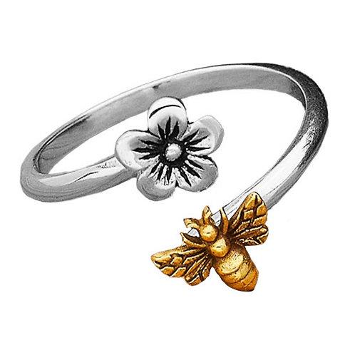 Cerise Flower Gold Bee Ring