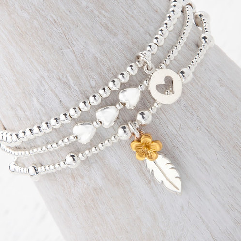 Thalia Feather Gold Blossom Flower Bracelet Set