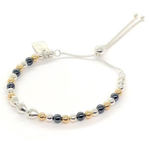 Sahara Gold, Hematite & Silver Slider Bracelet
