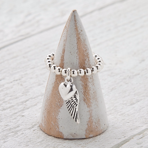 Angelina Silver Angel Wing Charm Ring