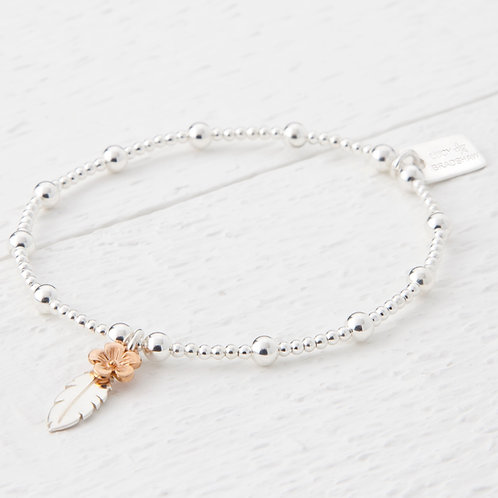 Thalia Feather Rose Gold Flower Bracelet