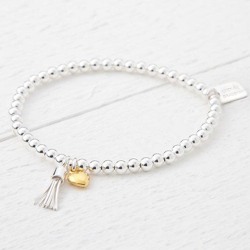 Chloe Mini Silver Tassel Gold Heart Bracelet