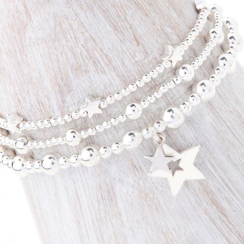 Phoebe Silver Star 3 x Bracelet Set