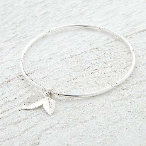 Amber Silver Leaf Bangle