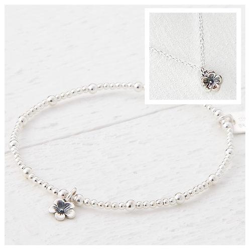 Cerise Silver Flower Bracelet & Necklace Set