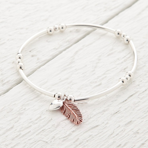 La Plume Feather Rose Gold Bangle