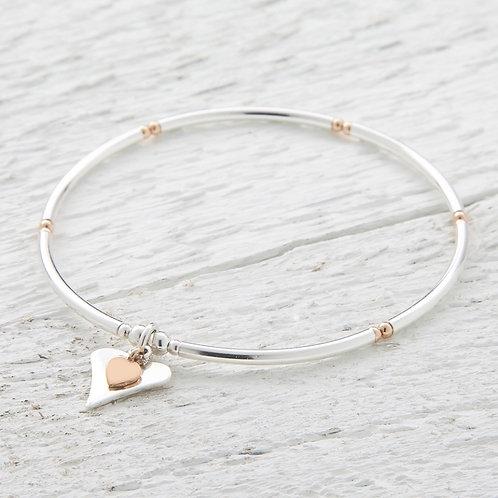 Lola Silver & Rose Gold Heart Bracelet