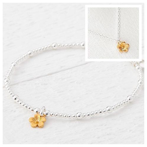 Cerise Gold Blossom Flower Bracelet & Necklace Set