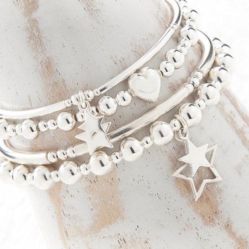 Aurora Silver Star Bracelet Set