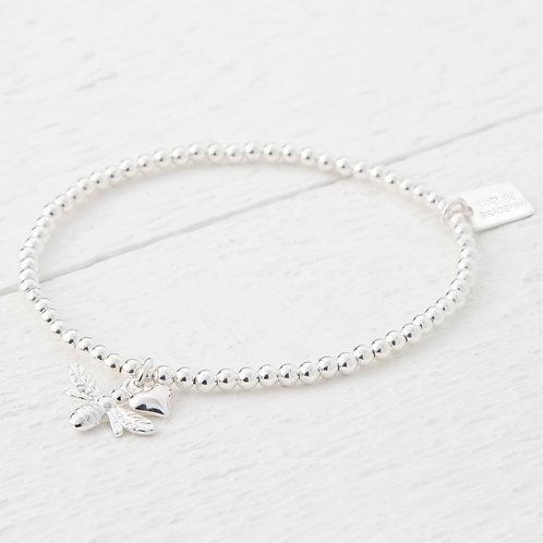 Beatrice Bee Silver Heart Bracelet