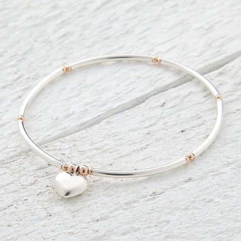 Mina Rose Gold & Silver Heart Bracelet