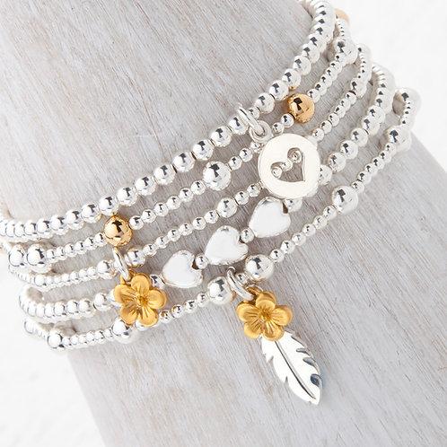 Cerise Gold Flower Blossom Bracelet Set