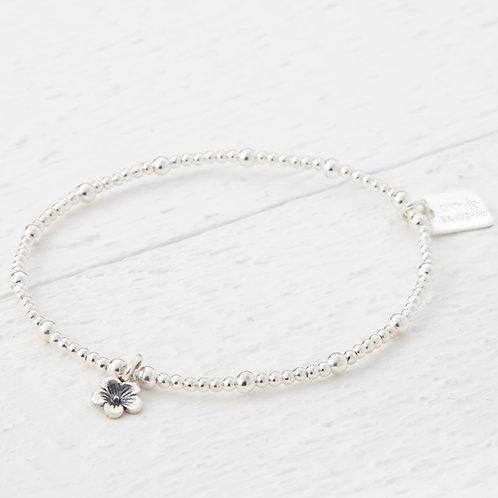 Cerise Small Silver Blossom Flower Bracelet