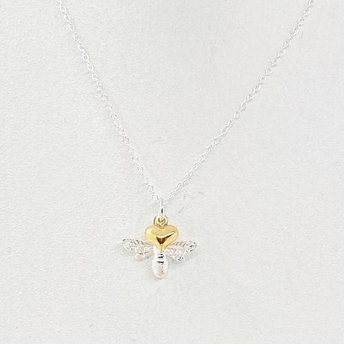 Beatrice Bee Gold Heart Necklace
