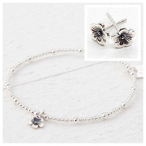 Cherry Blossom Flower Bracelet & Earring Set