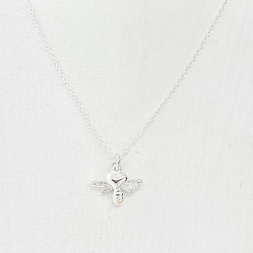 Beatrice Bee Silver Heart Necklace