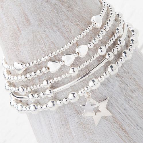 Phoebe Silver Star 5 x Bracelet Set