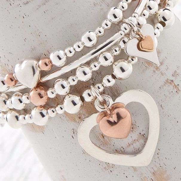 Sophia Rose Gold Heart Bracelet Lucy Bradshaw Jewellery