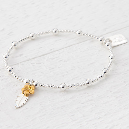 Thalia Feather Gold Blossom Flower Bracelet