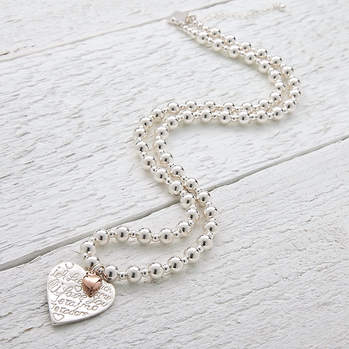 Amore Rose Gold Heart Beaded Necklace