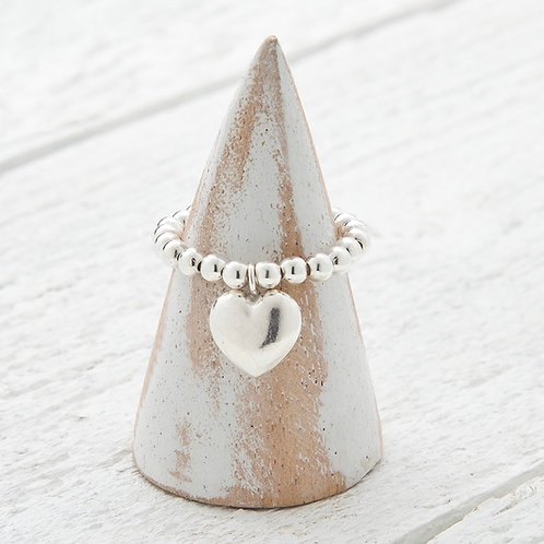 Bella Silver Heart Charm Ring