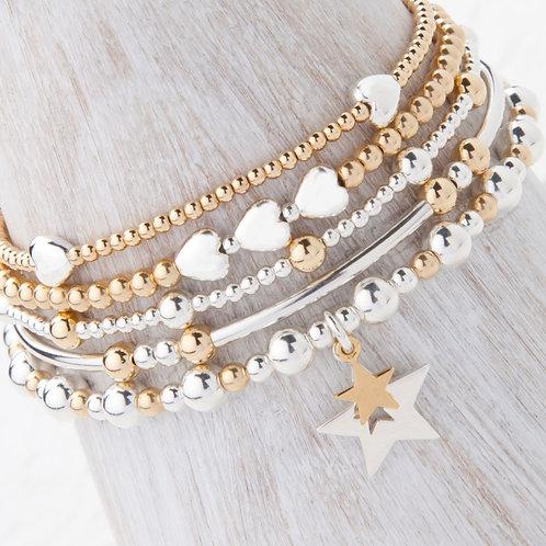 Phoebe Gold Star 5 x Bracelet Set