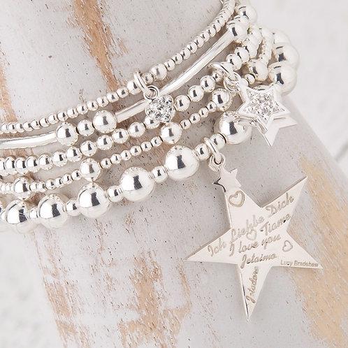 Cephei Silver Star Bracelet Set Collection