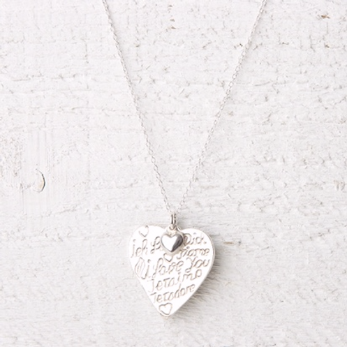 Amore Silver Heart Fine Necklace