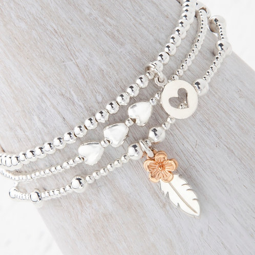 Thalia Feather Rose Gold Flower Bracelet Set
