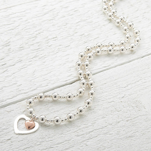 Seconds - Sophia Rose Gold Heart Beaded Necklace