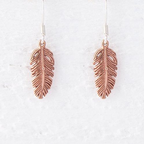 La Plume Feather Rose Gold Earrings