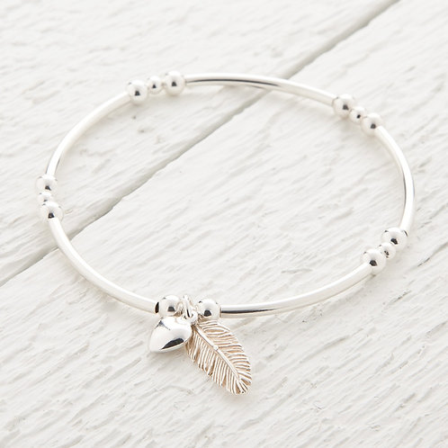 La Plume Feather Silver Bangle