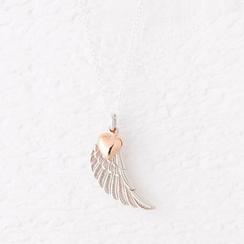 Parisa Silver & Rose Gold Heart Angel Wing Necklace