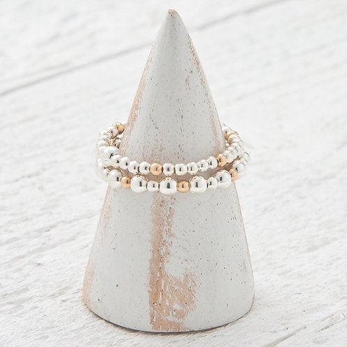 Emi Rose Gold & Silver Stacking Rings Set