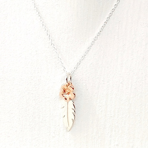 Thalia Rose Gold Blossom Feather Necklace
