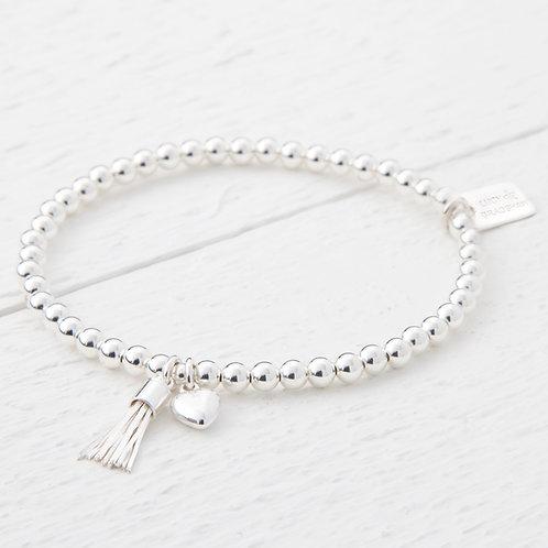 Chloe Mini Silver Tassel Silver Heart Bracelet