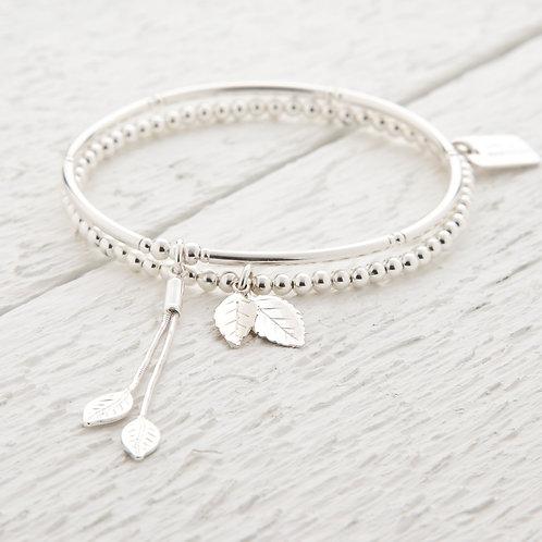 Lorelai Silver Leaf Bracelet Set