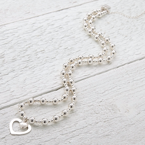 Sophia Silver Heart Beaded Necklace