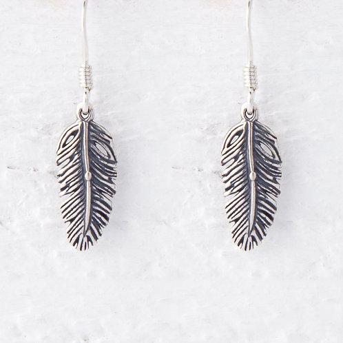 La Plume Feather Oxidized Silver Earrings