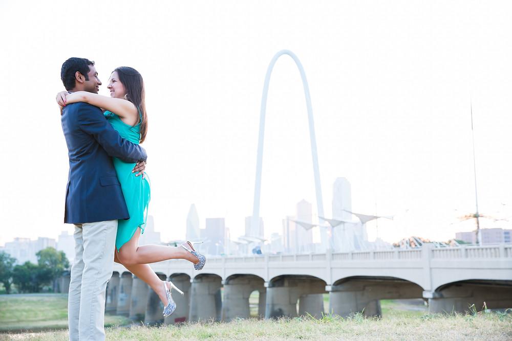 Dallas Skyline Engagement Photoshoot Sree & Ann