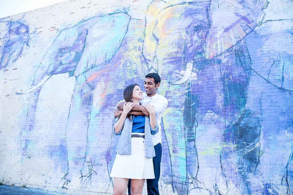 Dallas Deep Ellum Elephant Mural Engagement Photoshoot Sree & Ann