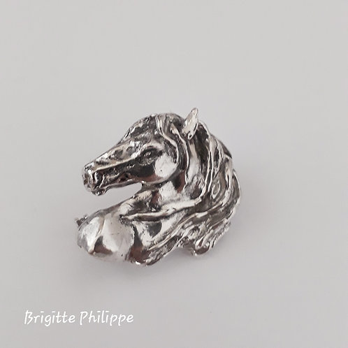 """Perle noire"" Broche en argent massif"
