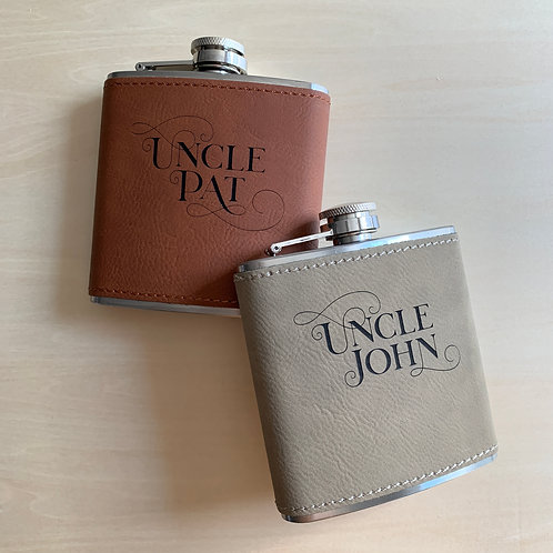 Engraved Leather-Wrapped 6 oz Hip Flask